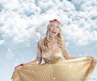 Beautiful girl celebrating christmas