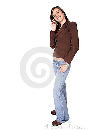 Beautiful girl on a cellphone - full body