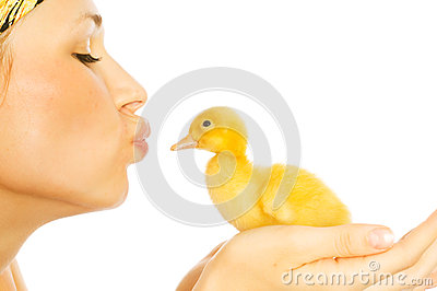 Beautiful girl with chickens and ducklings
