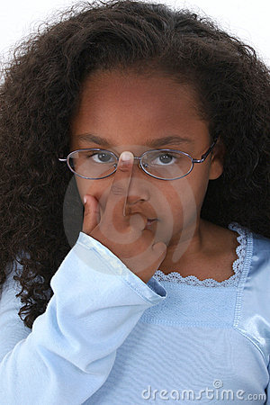 Beautiful Girl Child Pushing Up Glasses