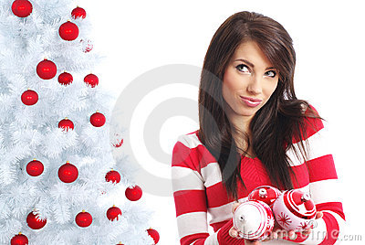 Beautiful girl  with chrismas balls