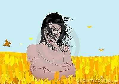 Beautiful girl in corn field