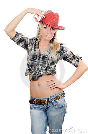 The beautiful girl in a cowboy s hat
