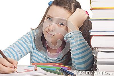 Beautiful girl is drawing