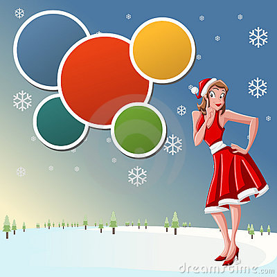 Beautiful girl dressed like Santa Claus on snow