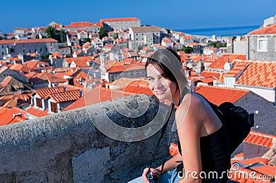 Beautiful girl in Dubrovnik