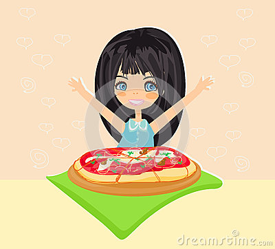 Beautiful girl eating pizza
