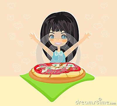 Beautiful girl eating pizza