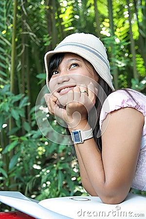 Beautiful girl enjoy nature