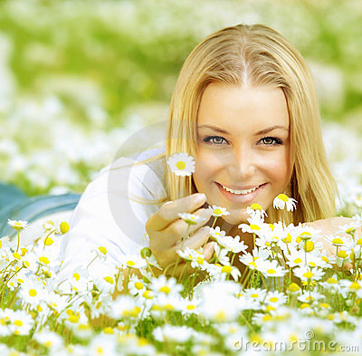 Free Beautiful Girl Enjoying Daisy Field Stock Image - 24095251