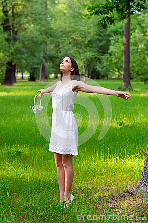 Free Beautiful Girl Enjoying Sunny Spring Day In Forest Stock Photos - 54849003