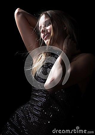 The beautiful girl in an evening dress