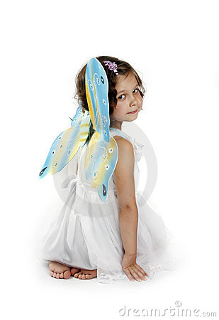 Beautiful girl in a fairy costume with butterfly w