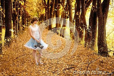The beautiful girl in fantastic wood