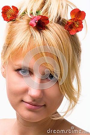 Beautiful Flower Hair Girl Portrait Wallpaper This Wallpaper