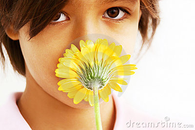 Beautiful girl and flower kiss