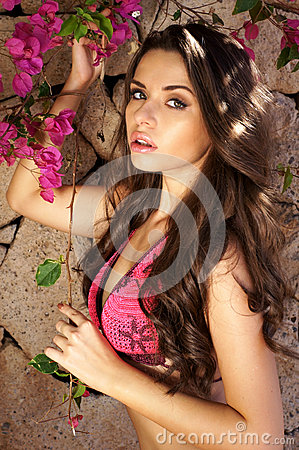 Beautiful girl and flowers