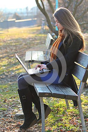 Beautiful girl focused on a laptop computer the park