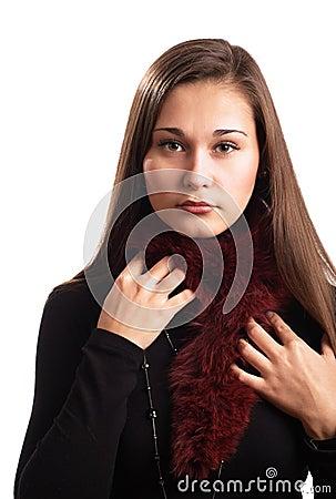 Beautiful girl in fur collar