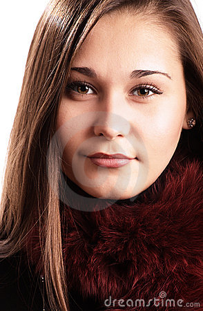 Beautiful girl in fur collar