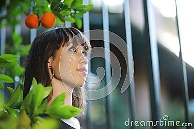 Beautiful girl in garden