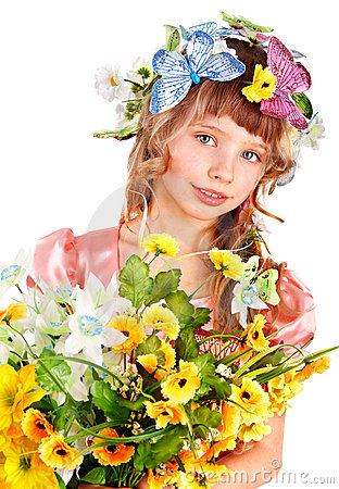 Beautiful girl with garland of wild flower.