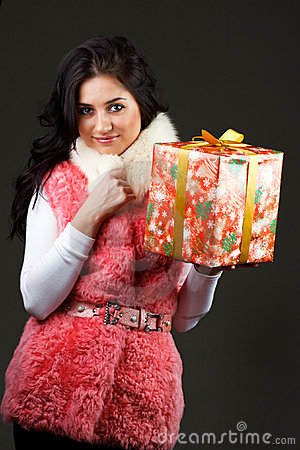 Beautiful girl with a gift
