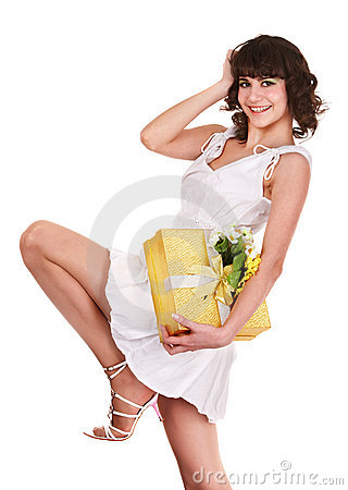 Beautiful girl with gift box and flower.