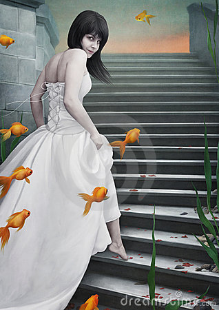 Beautiful  girl  and  goldfish.