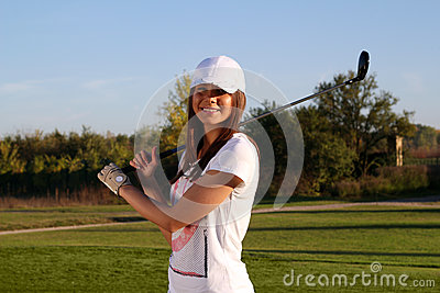 Beautiful girl golf player