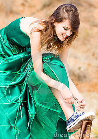 Beautiful girl in green dress