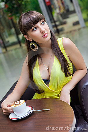 Free Beautiful Girl Having Coffee At Cafe Stock Photos - 22923313