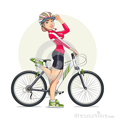Beautiful Girl In Helmet With Mountain Bike Sport Stock