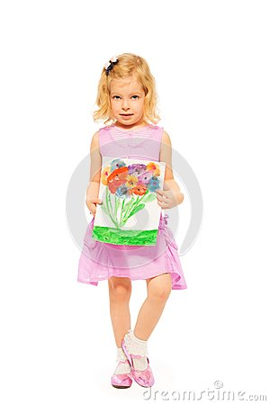 Beautiful girl with her flower drawing