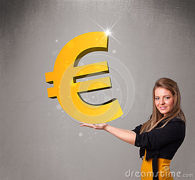 Beautiful girl holding a big 3d gold euro sign