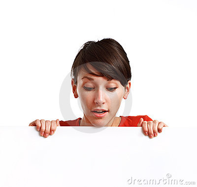 Beautiful girl holding an empty white board