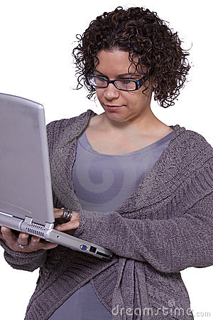 Beautiful Girl Holding a Laptop