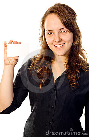 Beautiful girl holding a white card