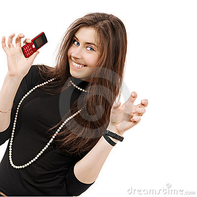 Beautiful girl holds playfully phone