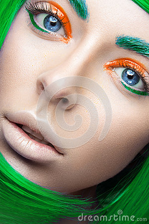 Free Beautiful Girl In A Bright Green Wig In The Style Of Cosplay And Creative Makeup. Beauty Face. Art Image. Royalty Free Stock Photos - 53303298