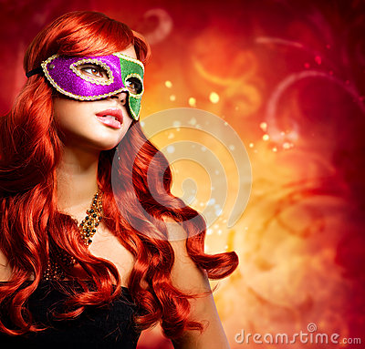 Free Beautiful Girl In A Carnival Mask Stock Image - 26467151
