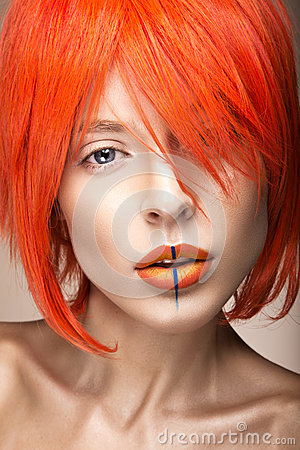 Free Beautiful Girl In An Orange Wig Cosplay Style With Bright Creative Lips. Art Beauty Image. Royalty Free Stock Images - 52586969