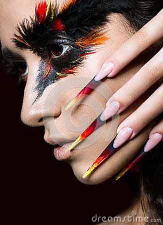 Free Beautiful Girl In Image Of Phoenix Bird With Creative Makeup And Long Nails. Manicure Design. Beauty Face. Stock Photo - 72581300