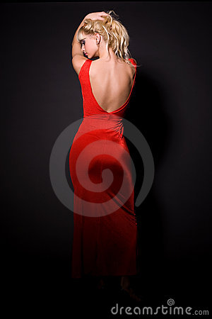 Free Beautiful Girl In Red Dress Royalty Free Stock Image - 7459146