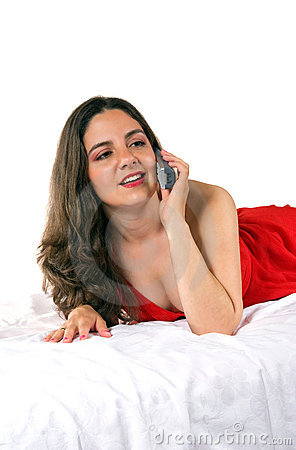 Free Beautiful Girl In Red Dress On The Phone Stock Photography - 5196102