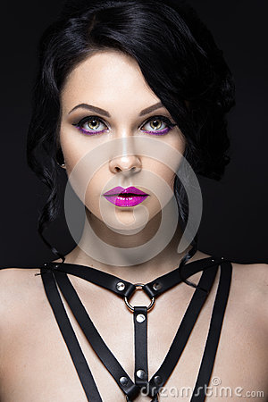 Free Beautiful Girl In The Gothic Style With Leather Accessories And Bright Makeup. Beauty Face. Royalty Free Stock Photo - 54340925