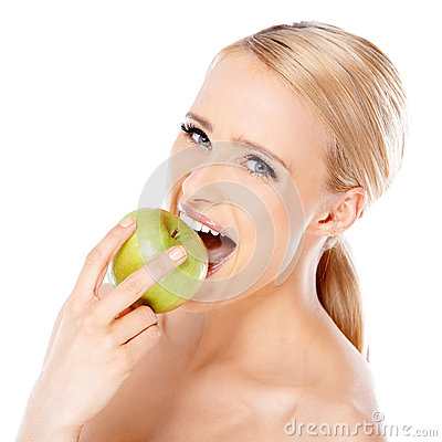 Free Beautiful Girl Is Biting Fresh Apple Royalty Free Stock Images - 29588079