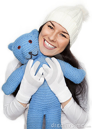 Free Beautiful  Girl Is Holding The Teddy Bear Royalty Free Stock Photos - 22923738