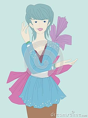 Beautiful girl isolated on blue background