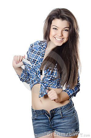 Picture Beautiful Nature on The Beautiful Girl In Jeans Shorts Stock Photography   Image  23532352